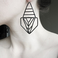 Geometric Earrings - Pharaoh Design - Black Finish - handmade jewelry - Art Deco and Prairie school revival