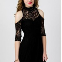 High Neck Black Lace Dress with Open Shoulders