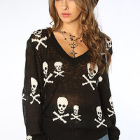 Wildfox V Neck Sweater Knight Hood School Girl Black