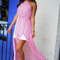 Candy Striper Maxi Dress: Coral/White | Hope's