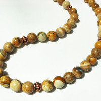 Men's picture jasper and copper necklace, mens bead necklaces, jasper jewelry