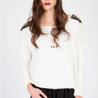 White Long Sleeve Top with Black Leather Shoulders and Spike