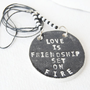 LOVE Necklace - Eco Friendly jewelry - Stamped on jewelry UK Seller
