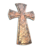 Stacked Decorative Cross copper faux finish pattee Alisee cross medieval cross