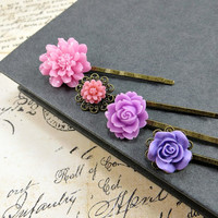 Flower Bobby Pins, Pink & Purple Hair Pin Set, Romantic Garden Floral Wedding Accessories by Flower Couture