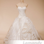vintage ball gown wedding dress multi-layer organza fabric beaded sweetheart neckline