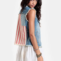 Americana Denim Vest - $58.00 : ThreadSence, Women's Indie & Bohemian Clothing, Dresses, & Accessories