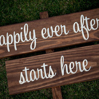 Rustic Wedding Signs happily ever after by RusticWeddingSigns