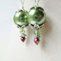 Sage Green Glass Pearl Layered Silver Victorian Style Earrings
