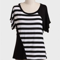 La Femme Striped Curvy Plus Blouse at ShopRuche.com