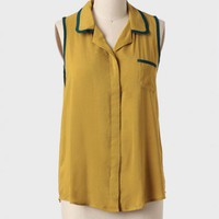 Caldwell Colorblocked Blouse In Olive at ShopRuche.com