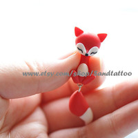 New -Design 1 Pair Of Adorable Lovey Fire Fox Dangling Earrings, Chomper Earring, Unique Earrings, Cute Earrings, Ninja style