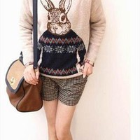 Mr Rabbit cartoon logo sleeve head women sweater beige from sweetgirl
