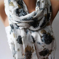 Grey  Flowers  -- Silky Touch - Elegance Shawl / Scarf-