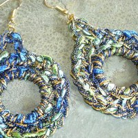 Crocheted Ribbon Hoop Earrings