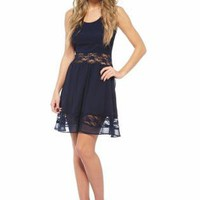 Navy Blue Skater Dress with Lace Cutout at Waist