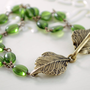 NEW Double Strand Bracelet, Olivine Green Glass Beads, Multistrand, Leaf Clasp, Bottle Green, Antiqued Brass Jewelry