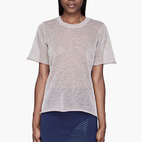 Dion Lee Pale Taupe Light Reflective Knit T-shirt for women | SSENSE