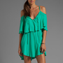Indah Zhina Flounce Top Mini Dress With Interchangeable Top in Aqua from REVOLVEclothing.com