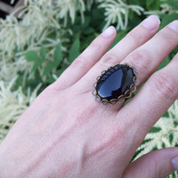 Onyx Ring for Self-Control and Resilience  -  Adjustable Band