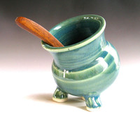 Green Ceramic Salt pig - Salt Cellar -  handmade pottery