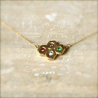 Birthstone Gold Modern Necklace With by illuminancejewelry on Etsy