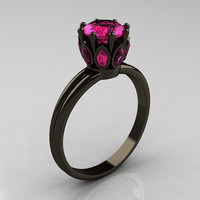 Classic 14K Black Gold Marquise 10 Carat Round Pink by artmasters