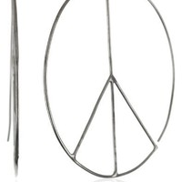 "Andrew Hamilton Crawford ""Disco"" Peace Sign Wire Form Sterling Silver Earrings"