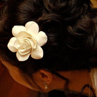 Gardenia Hair Flower For Weddings, LARGE Size