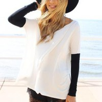White Oversized Scoop Neck Top with Black Contrast Sleeves
