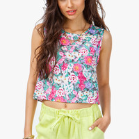 Floral Crop Zip Back Tank