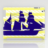 Blue Ship with Yellow Ropes iPad Case by PopEnterprises