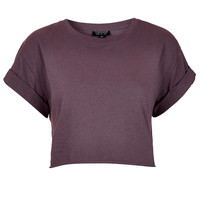 Roll Back Sleeve Crop Tee - Clothing - - Topshop