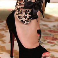 Ladies Ankle Bow Platform Stiletto Fashion High Heel Shoes