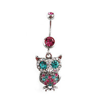 Morbid Metals 14G Magenta Turquoise Owl Navel Barbell | Hot Topic