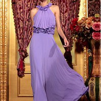 [153.99] In Stock Graceful Sheath High Neck Natural Waist Long Purple Ruched Party Gown With Laser Lace  - Dressilyme.com
