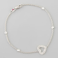 White Gold Heart Diamond Bracelet