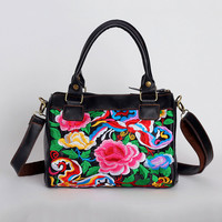 Flower Embroidered Leather Tote