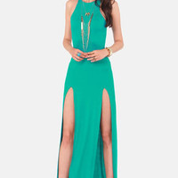 Stem Spells Teal Racerback Maxi Dress