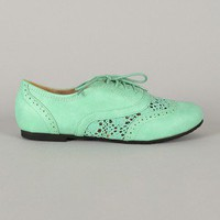 Galen-10 Lace Up Round Toe Crochet Oxford Flat