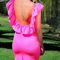 Scoop Back Neon Pink Bodycon Dress 00184