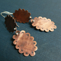 cut out earrings copper and silver patina artisan scalloped frames lace
