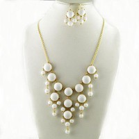 White Bubble Necklace & Earring Set