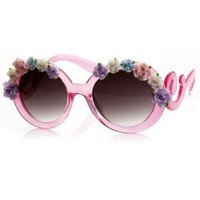 Amazon.com: Flower Adorned Round Oversized Sunglasses w/ Baroque Swirl Arms (Pink): Clothing