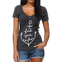 Empyre Girls Find Your Anchor Chacoal V-Neck Tee Shirt