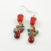Beautiful Coral & Turquise Fashion Earrings