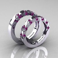 Modern Italian 14K White Gold Amethyst Wedding Band Set R310BS-14KWGAM