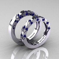 Modern Italian 14K White Gold Blue Sapphire Wedding Band Set R310BS-14KWGBS