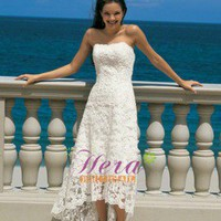 Princess Line Lace Motif Front Short Back Long Beach Wedding Dress