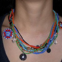 Bohoemian Multi strand statement Necklace